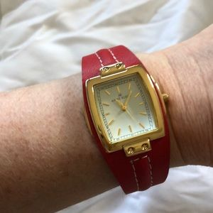 NWOT Anne Klein red leather gold watch